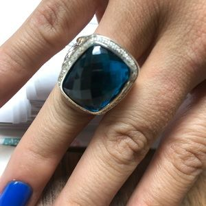 Albion Ring with Blue Topaz 20x15 &Diamonds Size 7